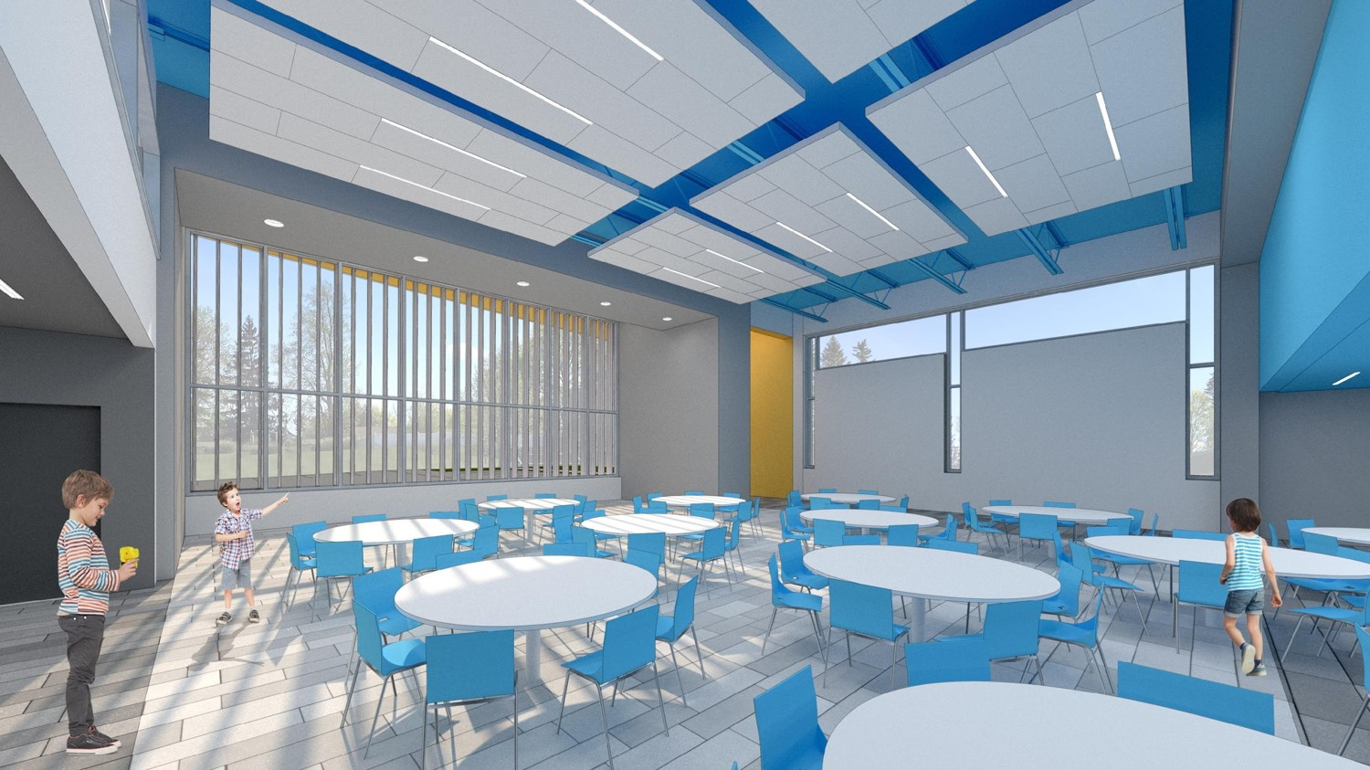 Fremont: Inside rendering of the proposed Community Café / Collaborative Commons