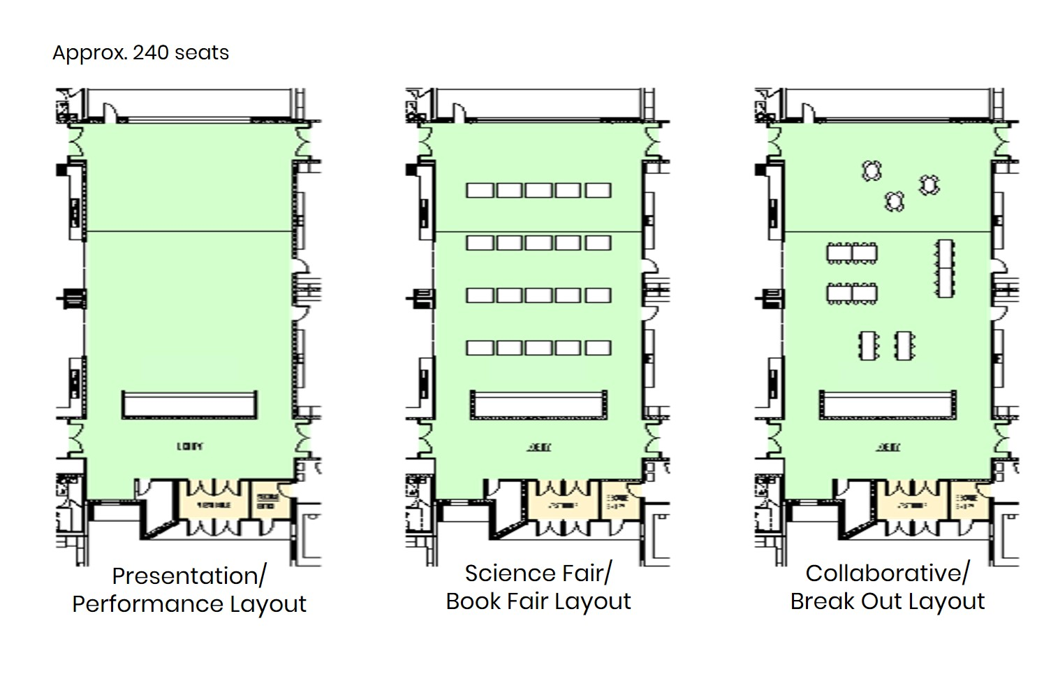 Woodland: Layout options for various uses of the collaborative commons area.