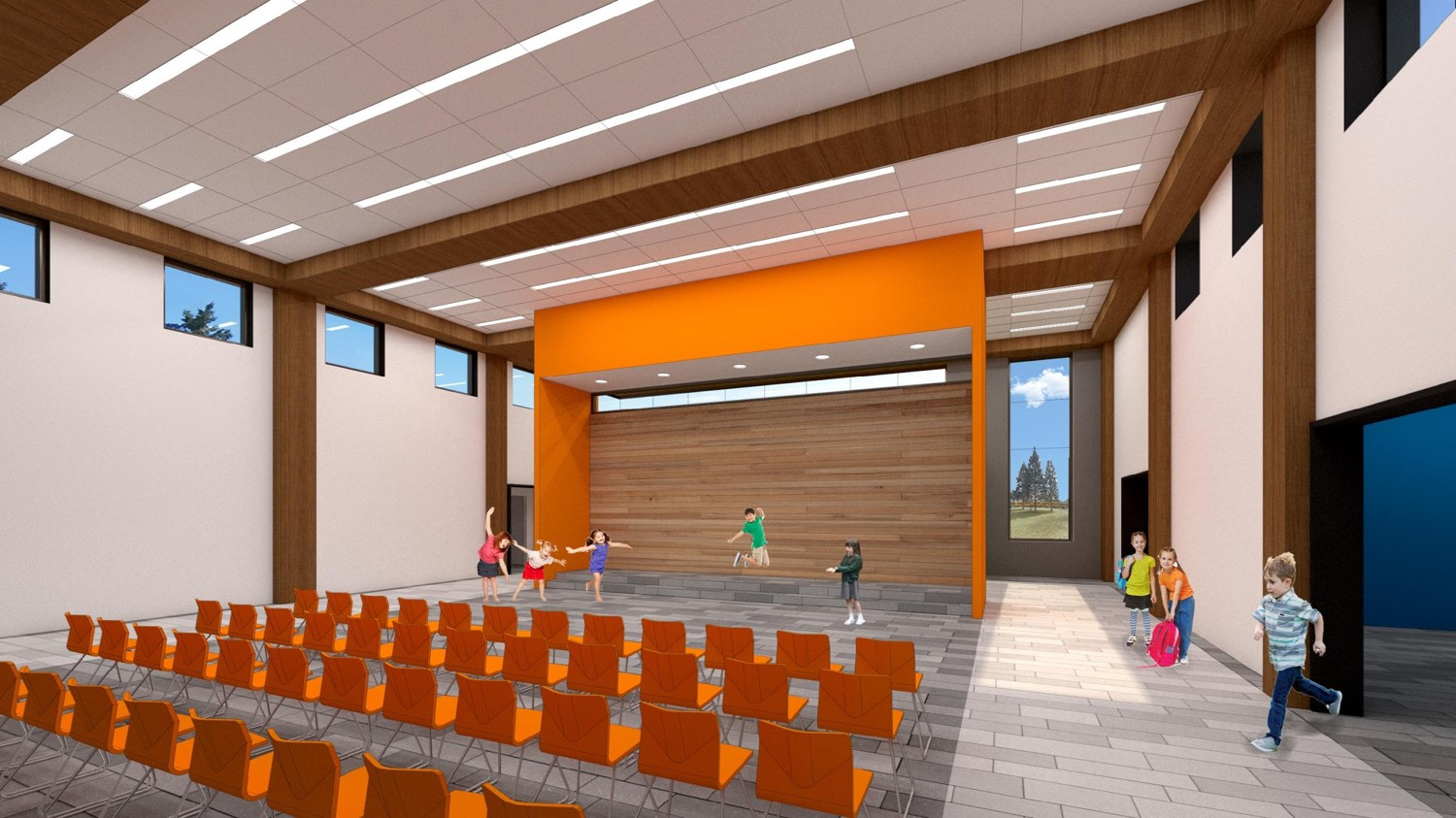 Woodland: Interior rendering of the propsed collaborative commons area